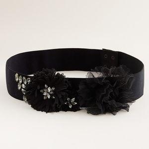 J.Crew Black Jeweled Elastic Flower Belt